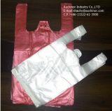 Type sachet de gilet de sac de T-shirt de PE en plastique de singulet de sac d'endroit de colle de transporteur