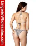 Traje de baño de dos piezas del halter de la impresión del leopardo del bikiní de las señoras atractivas