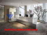 Handelsgegenmöbel-weißer und grauer L-förmiger Empfang-Schreibtisch
