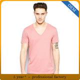 T-shirts rose-clair de collet de la chemise courte V de modèle pour des types