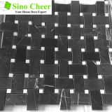 Mosaïque noire de vente chaude de Basketweave avec les tuiles de marbre de points