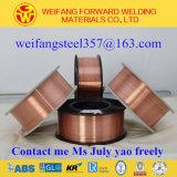 Fio de soldadura contínuo de cobre da solda do carretel 15kg/Er70s-6 Sg2 dos materiais de consumo 1.2mm da soldadura do fornecedor dourado do OEM da ponte