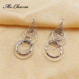 새로운 디자인 하락 귀걸이 여자 형식 보석 매다는 귀걸이를 위한 은에 의하여 도금되는 다중층 빈 둥근 긴 하락 귀걸이