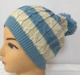 ポンポンの帽子の帽子Hjb042が付いているケーブルの編む帽子