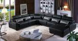 Sofá do couro da forma de U, sofá moderno, sofá preto da cor (A302)