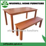 Tabela de cozinha de madeira da mobília da tabela de jantar da cinza com 2 bancos