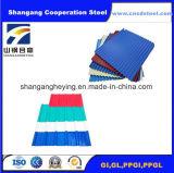 Feuille en acier enduite personnalisée de toiture de couleur ondulée pour le matériau de construction