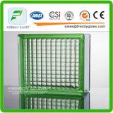 Azul/verde/bloco de vidro ombro cinzento/desobstruído/tijolo de vidro do ombro