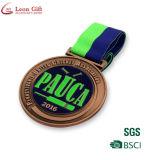 Médaille de course de moto en argent argentée en argent 3D