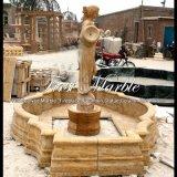 Garten-weiblicher gelber Travertin-Brunnen Mf-637