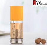 Glasflasche des wasser-400ml mit S/S Schutzkappe/Glastrinkwasser-Flasche mit langer S/S Filter-/Glass-Tee-Flasche mit Silikon-Hülse