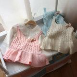 Baby-reine Farben-Lotos-Blatt-Rand-Unterhemd-Strickjacke-Weste Yf1602