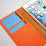 Caja del teléfono de la cubierta del tirón del cuero del dril de algodón para el iPhone 6/6s