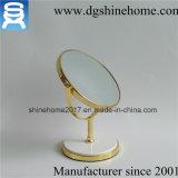 Espelho tomado o partido dobro Shaped da tabela do círculo Gold-Plated que está livre o espelho extravagante Desktop da composição