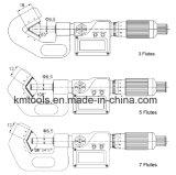 0.2-0.8 micrómetros del V-Yunque de la medida de la pulgada '' x0.001 '' con 3 flautas