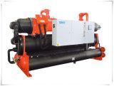 70kw 산업 두 배 압축기 실내 스케이트장을%s 물에 의하여 냉각되는 나사 냉각장치