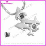 Bijoux pour cendres Pendentif Double Dolphins avec Cristal Ijd9655