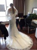 Gormous outre de robe de mariage de queue de poisson de sirène de Moitié-Chemises de Sequins de lacet d'épaule