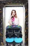 美しい現代標準的な二重シートのベビーカー手押車、デザイナー手押車、トロリーベビーカー