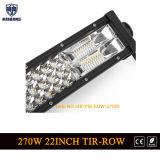 ジープのハンマーのトラックSUV ATV UTVのための極度の明るい270W 22inchの三列LEDのライトバーのコンボのビーム4*4オフロードLED作業ライト