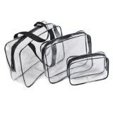 3PCS a placé le sac réglé de renivellement transparent de PVC, sac clair de produit de beauté de course de PVC