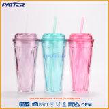 Popular para los diversos colores 9oz del mercado borrar las tazas plásticas de la tapa y de la paja para los postres