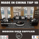 Spitzenkorn-Leder-klassisches Sofa für Wohnzimmer (LZ-069B)
