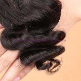 3/4束の絹の基礎閉鎖との絹の基礎閉鎖の波状毛の拡張のインドのバージンの毛のWeft緩い波