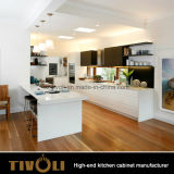 Gabinetes naturais elegantes de Ktichen do carvalho branco com revestimento desobstruído Tivo-0235h da cor do revestimento e da mancha
