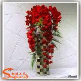 Fleurs de soie artificielle de décoration de mariage de qualité et de plastique