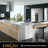 Cabina de cocina de madera de la chapa del roble de Furnitre de la cocina del diseño moderno Tivo-0072V