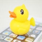Sostenedor lindo del teléfono móvil del lechón del silicón de la dimensión de una variable del pato del amarillo de la historieta