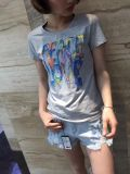 여름 형식 아플리케 편지 면 둥근 목 간결 소매 t-셔츠