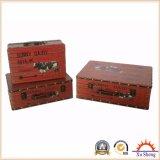 Valigia beige della stampa del programma di mondo dell'annata per memoria, il contenitore di monili ed il contenitore di regalo