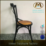 Античное стул металла сбор винограда Durable x перекрестный задний с валиком ротанга