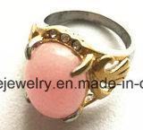 Joyería de la manera con el anillo de dedo de piedra rosado (SCR2885)