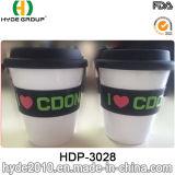 350ml BPA libèrent la tasse en plastique de course de tasse de café avec la chemise (HDP-3028)
