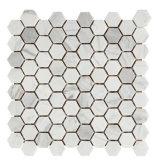 Плитка пола мозаики камня плитки шестиугольника Carrara горячего надувательства белая (FYSC237-1)