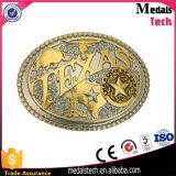 Liga 3D de ouro antigo e fivela de cinto de níquel com gravado