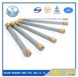電流を通された鋼線は4.8 mmのサイズを鋼鉄ガイワイヤー繊維の1X7ロープをかける