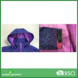 Revestimento de ciclagem fino roxo de Softshell da tela do poliéster da mulher