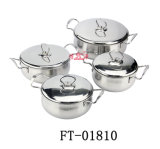 Il Cookware della maniglia del doppio dell'acciaio inossidabile ha impostato con il coperchio (FT-01810)