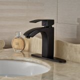 Robinet de mélange de lavabo de salle de bain de forme carrée de luxe Manette unique Robinet d'évier de vanité en laiton Bronze huilé