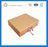 Rectángulo de regalo de oro de gama alta del papel de la cartulina del color con el Closing magnético y del satén (plano plegable pila de discos)