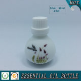 Botella de petróleo esencial de cristal blanca del ópalo redonda con el tapón de tuerca