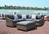 テラスの屋外の庭の家具の魔法の柳細工の藤のみょうばんのソファー(J649KD)