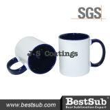 Сублимация покрытий Js Mugs внутренняя кружка цвета оправы 11oz - голубое B11taa-06