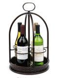 Supporto di bottiglia artistico della cremagliera 4 del vino del metallo del ferro saldato del controsoffitto