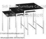 현대 작풍 백색 유리제 최고 스테인리스 프레임 Home Furniture의 3개 피스 중첩 테이블