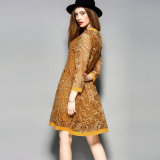 Втулка Silk платья длинняя напечатала тонкое вскользь платье женщин для женщины